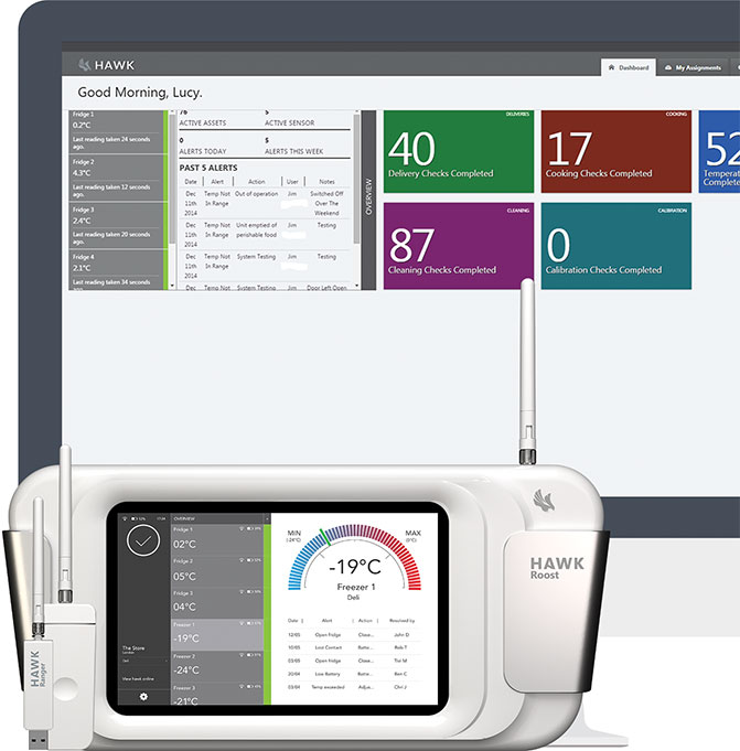 Hawk Safety complete solution for monitoring and recording health and safety management, HACCP compliance and temperature controls