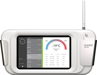 Hawk Roost - data hub for recording and monitoring temperature controls of fridges and freezers